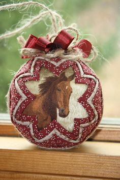 Horse Lover's Quilted Christmas Ornament by ornamentsbyTammy on Etsy https://www.etsy.com/listing/106408447/horse-lovers-quilted-christmas-ornament
