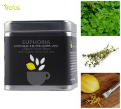 Euphoria cube. Thyme, Lemonbalm and lemon zest. As Herbal tea, drink hot or cold with honey or sugar. Steep 1 teaspoon of herb per cup in near boiling water for 4-5 minutes. Strain. Enjoy plain or add sweetener to taste. Find it now here: http://www.trofos.com/pagesall/productfinal.aspx?pid=702