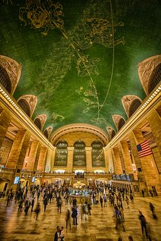 Grand Central Station, NYC. The astrological mural on it's ceilings are said to have been depicted backwards in error some speculate, others say that the artist, Paul Helleu was inspired to show the heavens as they would have looked from outside our celestial sphere.