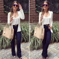 604 curtidas looks com calça flare, look calça flare, calça flare branca, r Casual Work Outfits, Work Casual, Casual Chic, Casual Looks, Office Fashion Women, Work Fashion, Fashion Looks, Fashion Outfits, Womens Fashion