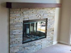 Natural Stone Fireplace with Custom Modern  Mantle