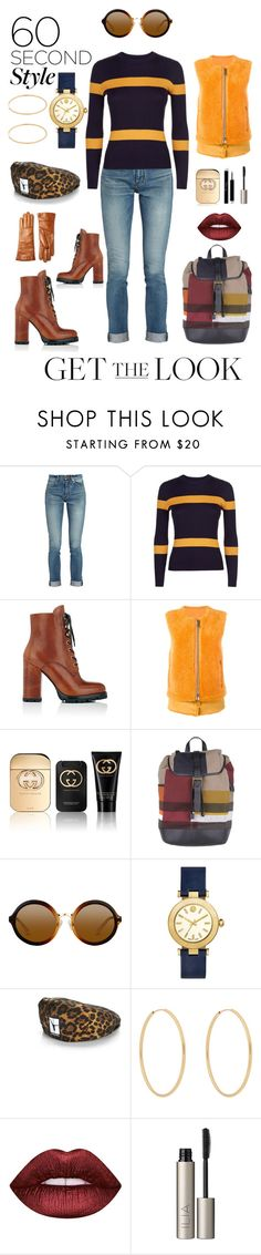 """GTL in 60 Seconds"" by michele-nyc ❤ liked on Polyvore featuring Yves Saint Laurent, Jaeger, Prada, Giorgio Brato, Gucci, Burberry, Tory Burch, Alexander Wang, Loren Stewart and Lime Crime"