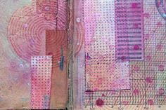 piece of collage by Agnieszka Anna, using 3rd Eye stamps http://3rdeyecraft.com/ * #stamping #stamps #stamp #collage #pink #dots #stripes #old #vintage #book