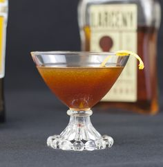 Bourbon poached peach Black Manhattan
