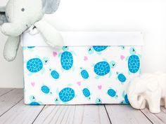 This adorable sea turtle basket could be a great gift for a baby shower. Make your baby's nursery happy and bright with this lovely sea turtle storage bin, by adding a spark of love to her room decor.