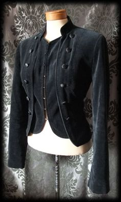 Gothic Black Velvet VICTORIAN STEAMPUNK Fitted Waistcoat Jacket 12 14 Military - £49.00