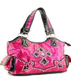 Fuchsia Cross With Rhinestone Handbag - Handbags, Bling & More!