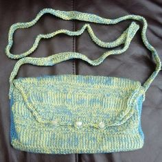 Puffin Dazzle Hand Knitted, Crocheted & fully lined Handbag. £18.00
