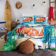 Kombi Van Oasis Duvet Doona Quilt Cover Set Surf Board