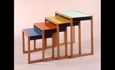 artist: Josef Albers artwork: nesting tables date: additional: Designed in minimalist style and crafted of solid oak and lacquered acrylic glass, the set is an example of the application of Bauhaus colour principles taught in the preliminary course. Art Bauhaus, Bauhaus Colors, Design Bauhaus, Josef Albers, Anni Albers, French Furniture, Modern Furniture, Furniture Design, Bauhaus Furniture