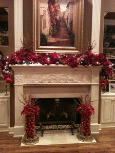 Fireplace Christmas Decorations are one inseparable area of the Christmas holidays, without which Christmas would lose its color, spirit, warmth and c. Diy Christmas Fireplace, Christmas Mantels, Noel Christmas, Christmas Wreaths, Fire Place Christmas Decor, Christmas Centerpieces, Xmas Decorations, Fireplace Decorations, Mantel Ideas