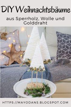 DIY Weihnachtsbäume aus Sperrholz, Wolle und Golddraht #diy #christmasdecor #weihnachtsbaum #weihnachtsdekoration Gold Diy, Diy Weihnachten, Xmas, Christmas, Table Decorations, Handmade, Advent, Furniture, Home Decor