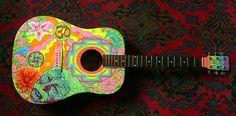 Hippie guitar Junior Girl Scout Badges, Girl Scout Juniors, Black Acoustic Guitar, Guitar Diy, Fender Acoustic, Hippie Style, Arte Country, Guitar Painting, Music Wallpaper