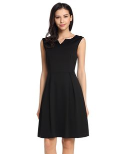 Double V-Neck Sleeveless Solid A-Line Pleated Hem Elastic Dress