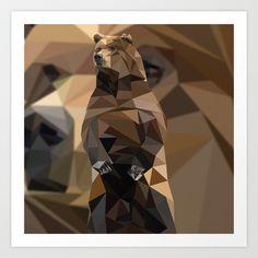 Geometric Bear Art Print by Grinned - $14.04