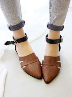shoes ankle strap flats pointy toe flats black and brown