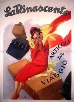 Poster by Marcello Dudovich, 1925 - La Rinascente travel goods