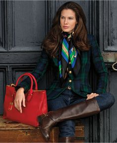 Lauren Ralph Lauren Plaid Wool Jacket \u0026amp; Straight-Leg Jeans - Shop All Lauren Ralph