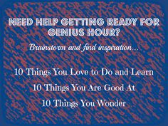Genius Hour Brainstorming for Ideas   Flickr - Photo Sharing!