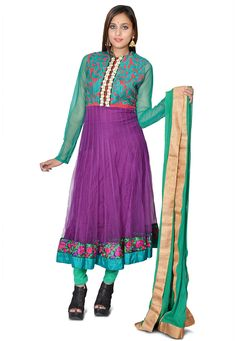 Net Anarkali Style Kameez in Purple and Teal Green This Readymade attire is Enhanced with Resham and Patch Border Work Available with a Shantoon Churidar in Teal Green and a Faux Chiffon Dupatta in Teal Green. Crafted in Collar Neck and Full Sleeve The Lengths of the Kameez and Bottom are 48 and 45 Inches respectively and may vary upto 2 Inches Do Note: All accessories shown in image is for presentation purpose only. (Slight variation in actual color vs. image is possible. )
