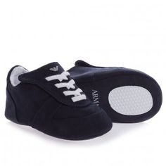 Armani Junior Baby Boys Navy Pre-Walker Trainers at Childrensalon.com