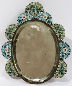 ITALIAN MIRROR WITH MICROMOSAIC FRAME, H 5 1/2""