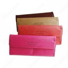 Women Handbag Womens Long Ultra-Thin Candy Color Wallet Card Package Envelope Bag Red