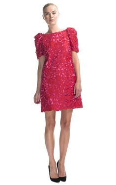 Marchesa Corded Laser-Cut Sheath Dress at Moda Operandi
