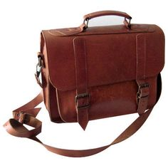 Men's Genuine Leather messenger laptop bag Camera by EleniAthini