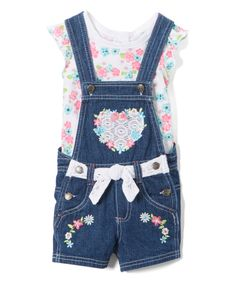 Take a look at this White Floral Angel-Sleeve Top & Blue Heart Shortalls - Infant today!