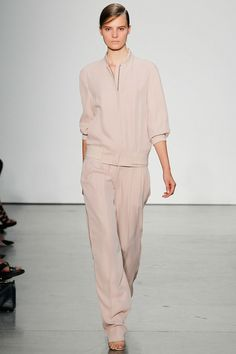 Reed Krakoff Spring 2014. The designer made headlines this week striking out on his own. He presented a solid collection with feminine ruching and sophisticated sporty looks.