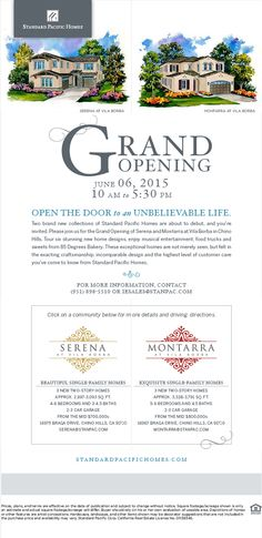 Chino Hills Grand Opening Event in 2 Days  SERENA AT VILA BORBA - http://www.standardpacifichomes.com/new-homes/southern-california/inland-empire/serena-at-vila-borba.aspx  MONTARRA AT VILA BORBA http://www.standardpacifichomes.com/new-homes/southern-california/inland-empire/montarra-at-vila-borba.aspx