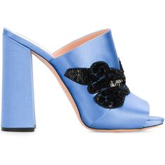 Rochas sequin embellished mules ($729) ❤ liked on Polyvore featuring shoes, blue, leather footwear, rochas, leather mules, leather mule shoes and sequined shoes