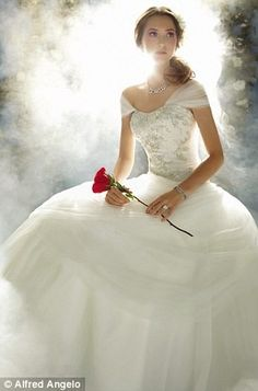 LITERALLY MY BRIDE INSPIRATION SINCE HIGHSCHOOL BECAUSE OF HE SINGLE ROSE - disney princess wedding dresses
