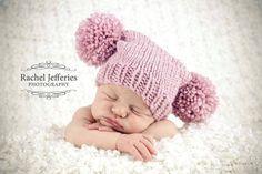 Newborn knitted baby hat  pom pom hat  rose by TheYarnOwlsNest, £10.00