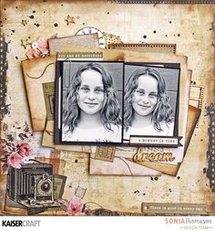 Treasuring your memories - 'A Moment In Time' Layout by Sonia Thomason Design Team member for Kaisercraft Official Blog. Featuring June 2017 'Keepsake' collection. Learn more at kaisercraft.com.au/blog - Wendy Schultz - Scrapbook Layouts 1.
