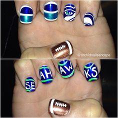 Seattle Seahawks by orchidnailsandspa #nail #nails #nailart