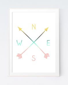 Pink and Gold Art, Mint and Coral Art, Mint Arrows, Pink Arrows, Compass Printable Art, NWES, North, West, South, East, Cardinal Directions by SutilDesigns on Etsy https://www.etsy.com/listing/230172926/pink-and-gold-art-mint-and-coral-art
