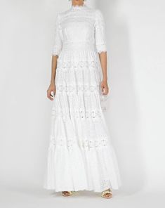 Discover the Tiered Lace Gown by Costarellos at The Modist. Blue Wedding Dresses, Striped Maxi Dresses, Bridal Dresses, Kimono Fashion, Modest Fashion, Romantic Fashion, Tea Length Dresses, Long Dresses, Trench Coat Dress