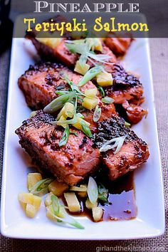 Pineapple Teriyaki Salmon from the Girl and the Kitchen. A one pan meal that comes together in minutes and is both satisfying and healthy!