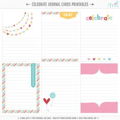 Celebrate Project Life Journal Card Freebie ([ One Velvet Morning ]) Project Life Scrapbook, Project Life Album, Project Life Cards, Printable Stickers, Printable Planner, Free Printables, Freebies Printable, Printable Cards, Project Life Freebies