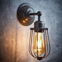 Orlando Vintage Wire Cage Retro Sconce Wall Light  - Dark Pewter