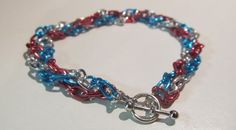 Red, White and Blue Bangle Chain Bracelet