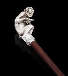 Fabergé,   A silver cane handle Fabergé, Julius Rappoport, St.Petersburg, 1899-1908