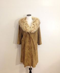 Brown Suede Coat with fur collar by TheCleverFlamingo on Etsy #Vintage #FurCoat