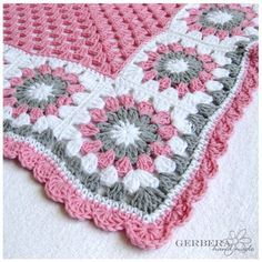 Beautiful Baby Blanket! - love the pink & gray... granny square flowers and edging, so pretty (no pattern, but easy enough to do)