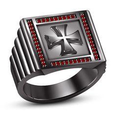 Round Cut Red Garnet 14K Black Gold FN in 925 Silver Men's Spl Biker Cross Ring #br925 #CrossRing