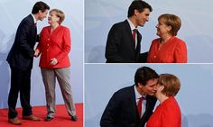 German Chancellor Angela Merkel, 62, kissed Canadian Prime Minister Justin Trudeau, 45, on the cheek as he arrived at the G20 Summit in Hamburg, Germany this morning.