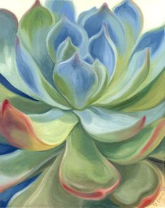Succulent 4 Original Walnut Oil Painting 16 x by SucculentEcoArt