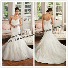 Trumpet Wedding Dress 2014 With Organza Layers Skirt Mermaid Wedding Bridal Dress Ivory Classic Wedding Dress $179.00